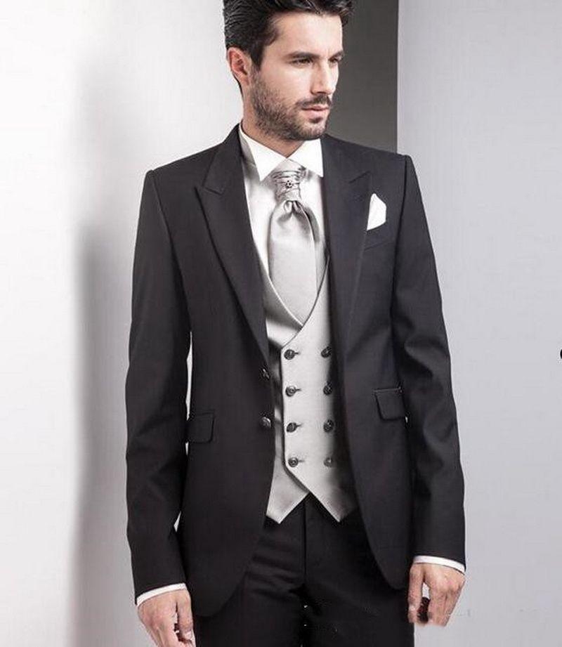 Design clássico Noivo Smoking pico lapela preto de dois botões Smoking Groomsmen Mens Terno Excelente Suit Man (jaqueta + calça + Vest + TIE)