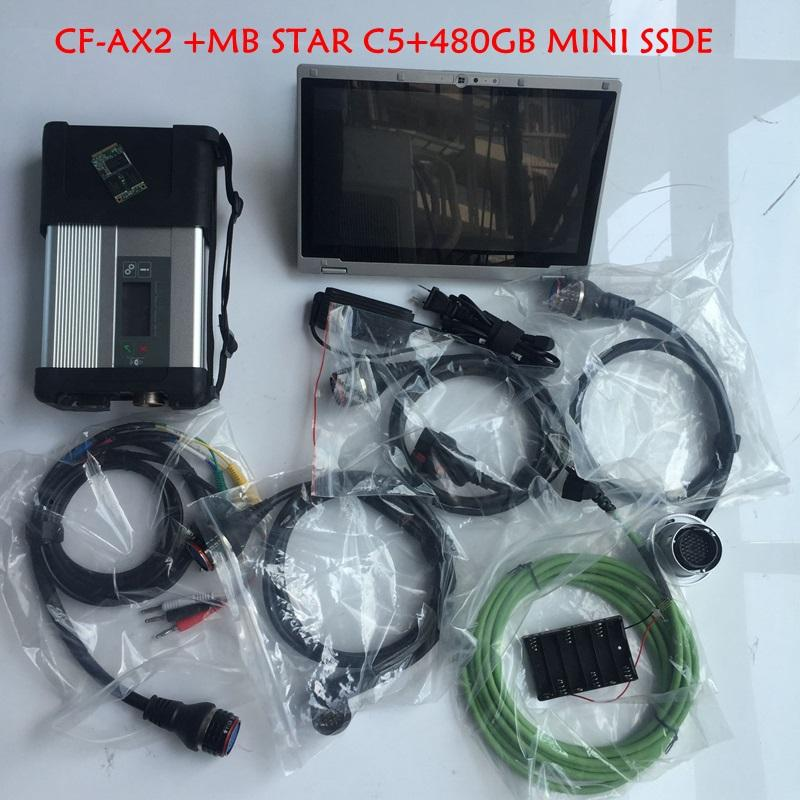 mb star c5 diagnose scanner with laptop CF-AX2 i5 8G 480G SSD soft-ware 2020/06 windows 10 ready to use
