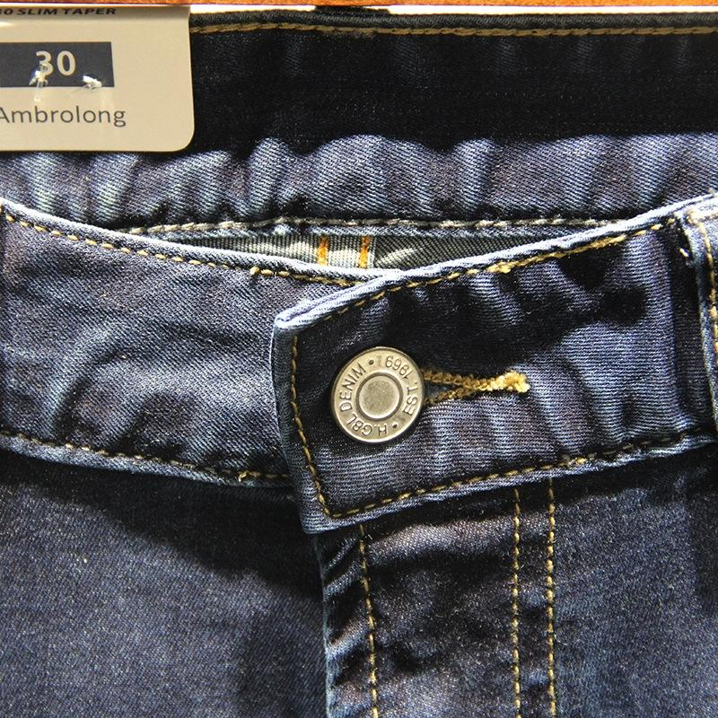 HYYmE Gao Kore yaz ince düz erkek ve stil iş rahat gevşek kot Bolong kot germek pantolon erkek