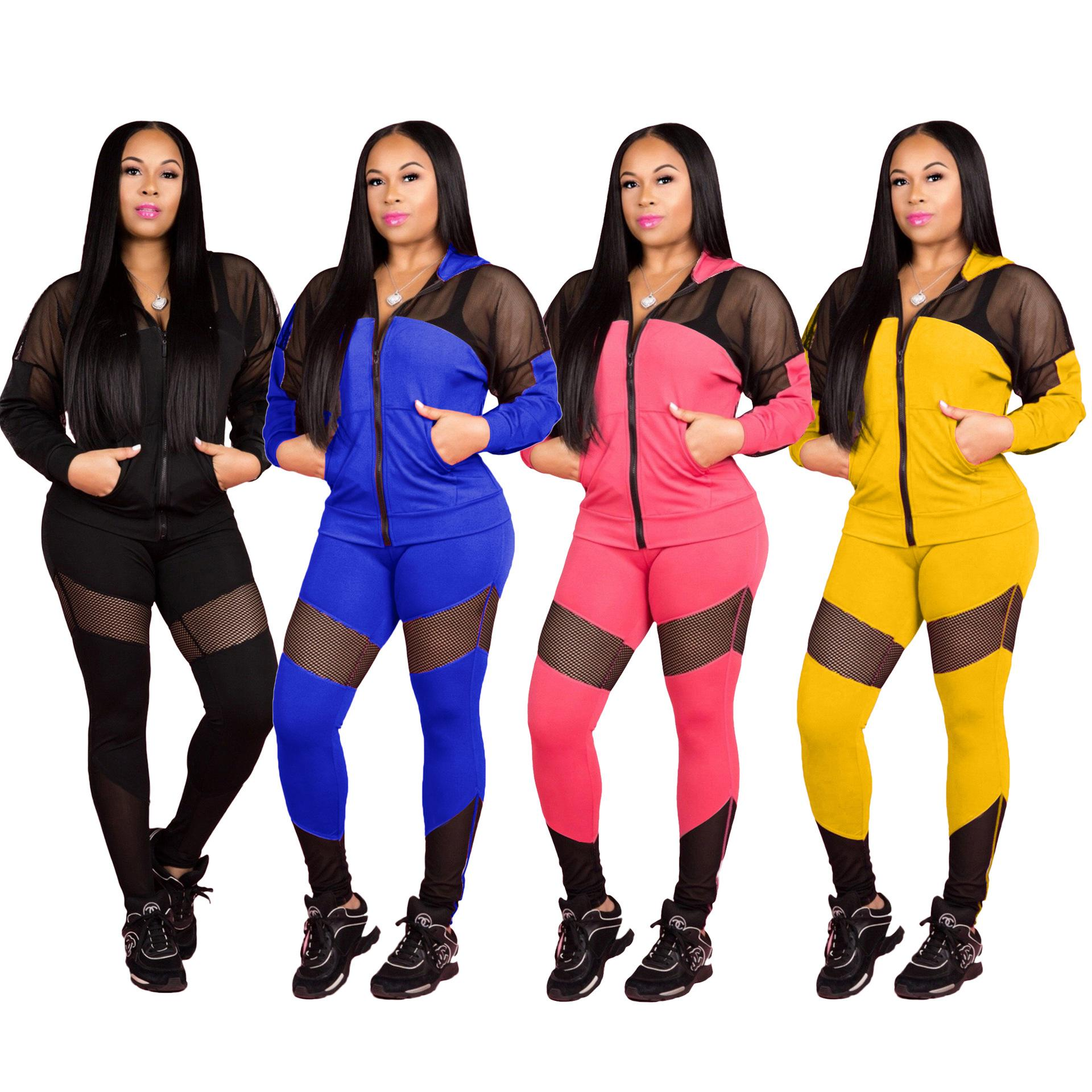 Women Tracksuits Hooded Long Sleevetwo Piece Outfits Sheer Stictch Sports Suits Zip Up Pocket Hoodie Long Pant Set Pink Blue Yellow Black