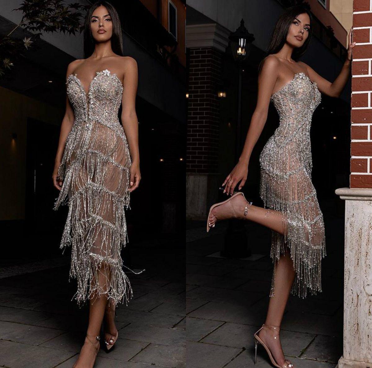 Rami Salamoun Tassel Evening Dresses Beading Sweetheart Tea Length Sequins Luxury Arabic Prom Dresses 2019 Custom Made Long Formal Gowns