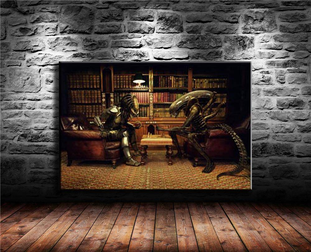 Alien Vs Predator 3 Play Chess , Canvas Painting Living Room Home Decor Modern Mural Art Oil Painting