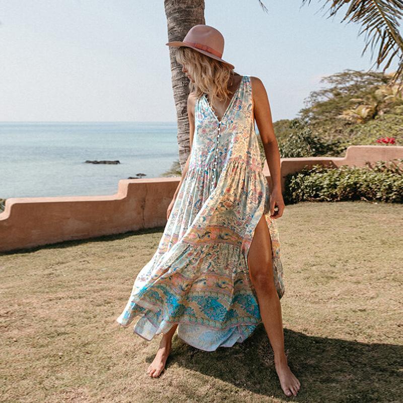 Boemia dalla spiaggia vestito largo chiffon vacanze Stampa Abito senza maniche sexy estate pulsante casual Stampa con scollo a V pavimento-lunghezza