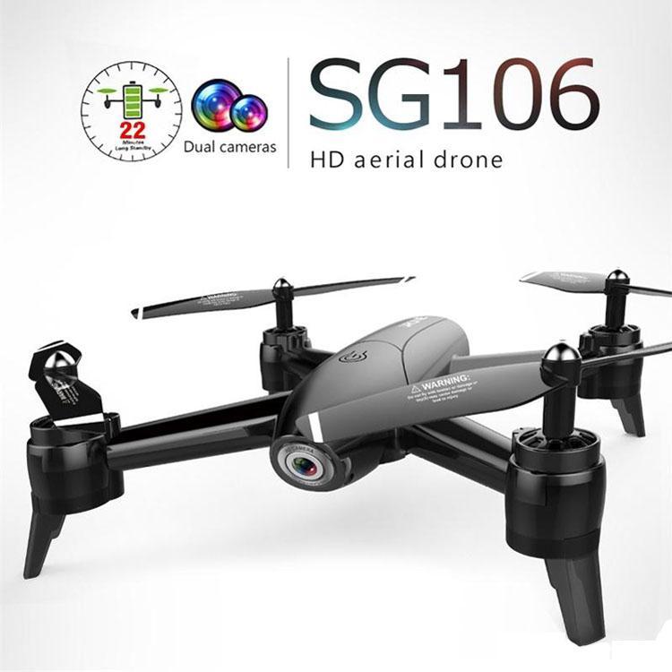 Radyo Kontrol Oyuncaklar SG106 UAV 22mins 1080P / 4K Uçuş RC Drone RTF Optik Akış / Yükseklik Tut HD Dual Kameralar Gesture Fotoğraf RC Helikopter