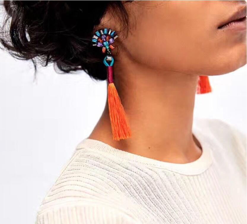 2018 nuovi monili di modo semplici geometriche di colore nappa mano tempestato orecchino lungo gli orecchini della Boemia accessori popolari trasporto libero