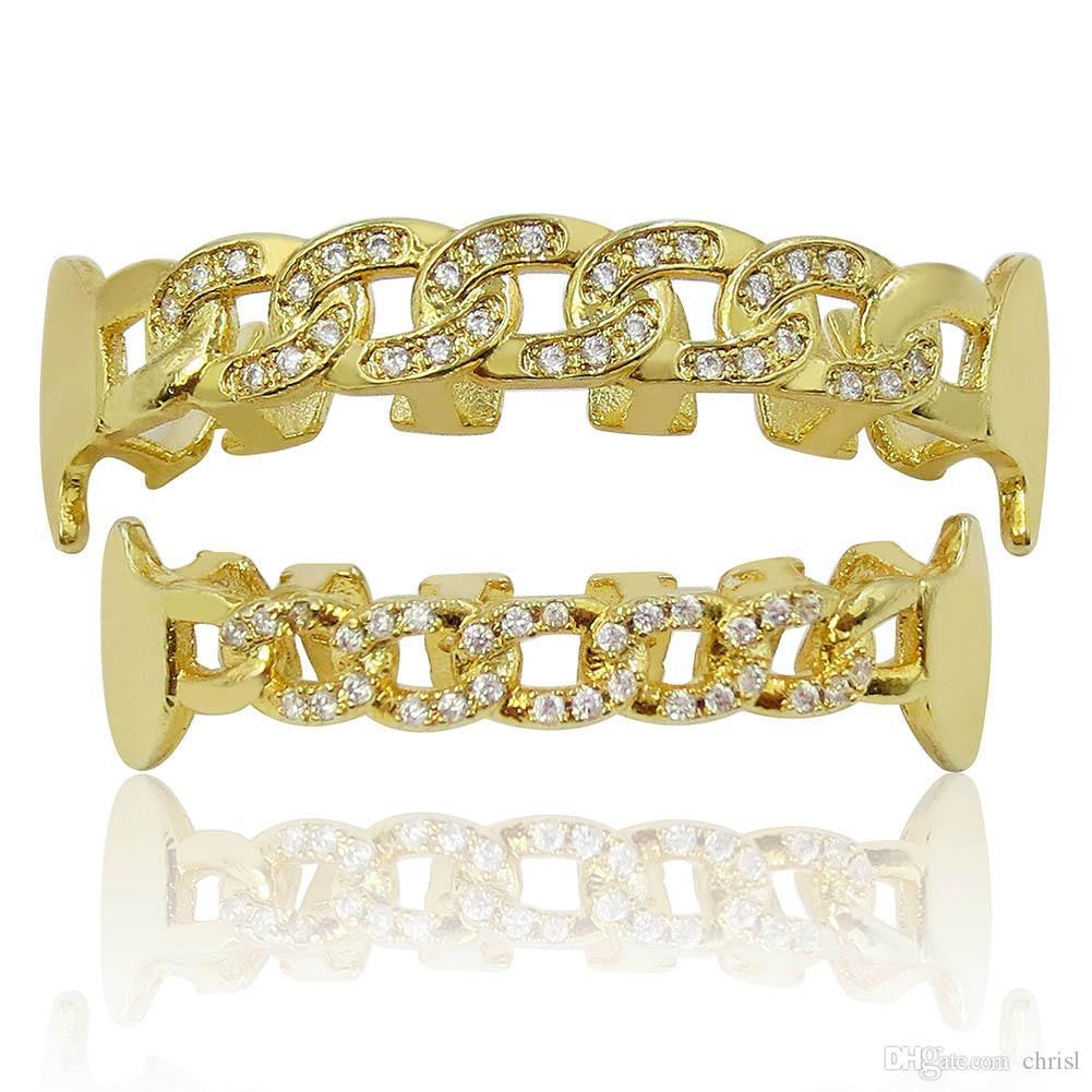 18K مطلية بالذهب مثلج خارج الكوبية الأسنان سلسلة الشكل الشوايات مايكرو معبد مكعب الزركون مجوهرات رجالي الجسم هدية