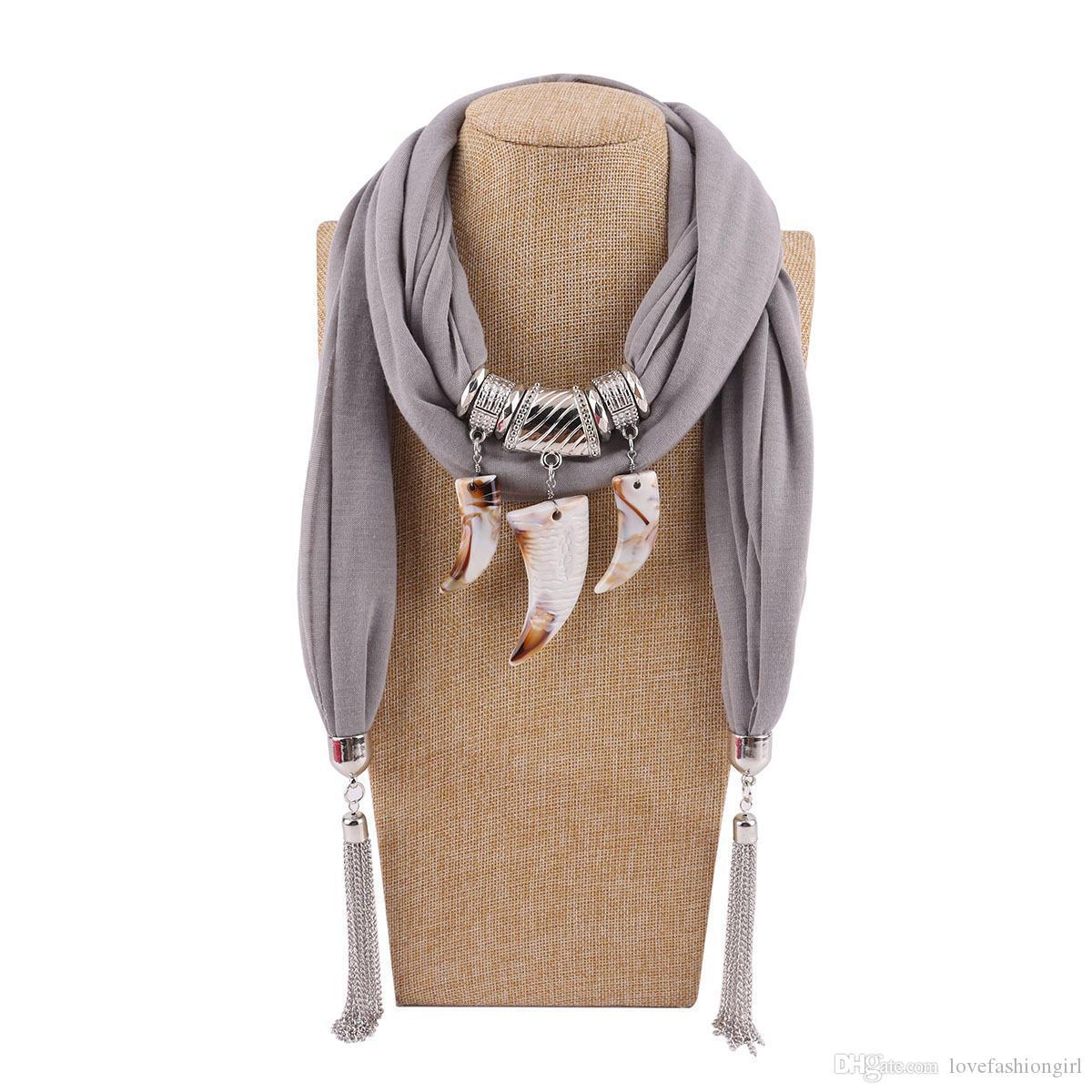 Europäischen und Amerikanischen Stil Harz Anhänger Schals 2018 Brand New Fashion Frauen Legierung Ketten Quasten Ethnic Plain Warm Polyester Wraps LSF083
