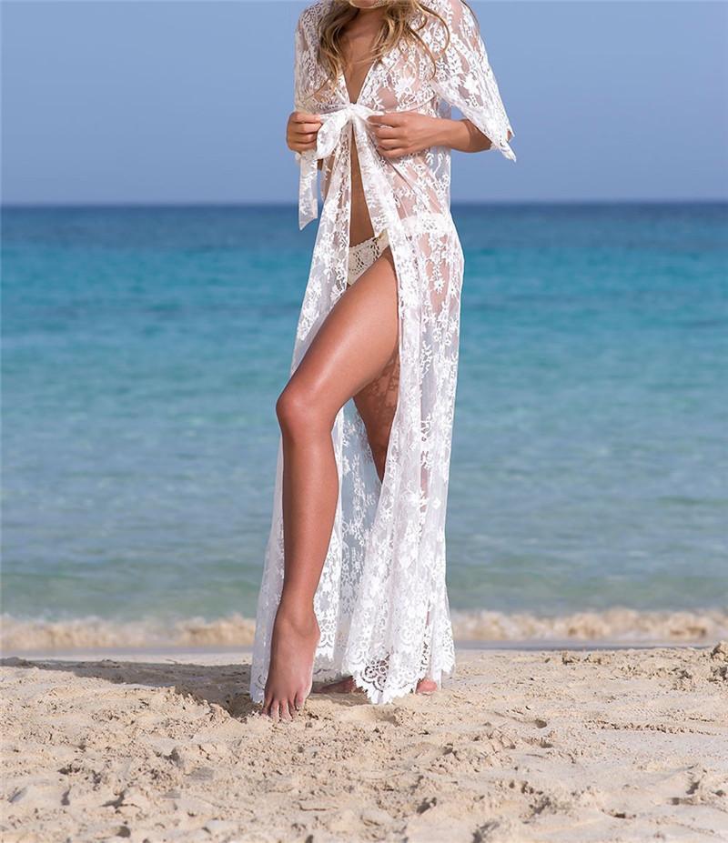 Yeni dantel uzun seksi tatil aşınma bluz dışında hırka plaj bikini mayo