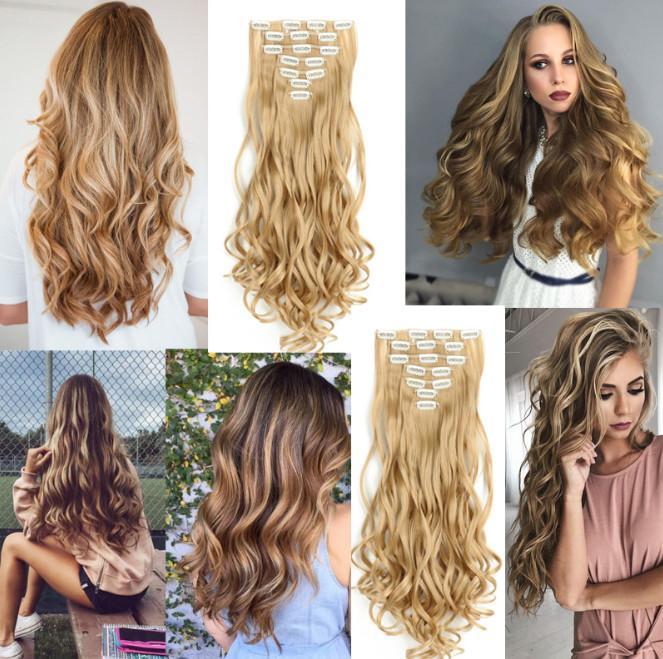 Kadınlar 7 Klipleri 4.6 Oz Başına Parça bea153 için 1 paket Tam Kafa Kıvırcık Dalga Klipler Sentetik Saç Uzantıları Saç adet
