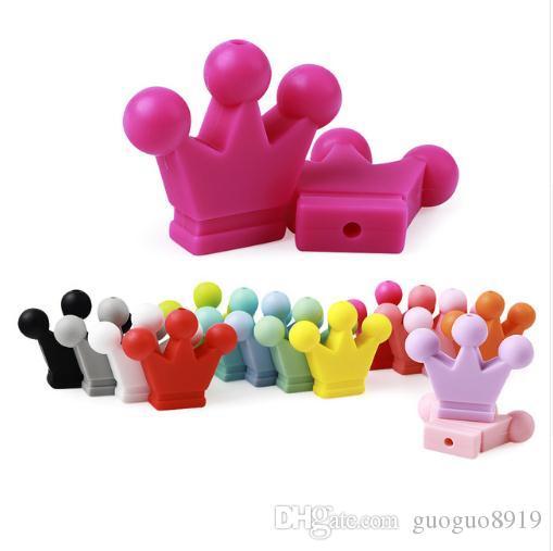 Coroa de Pérola De Silicone Dentição Brinquedos 30mm Contas Para Silicone Chupeta Cadeia Fazendo DIY Presente de Dentição Do Bebê