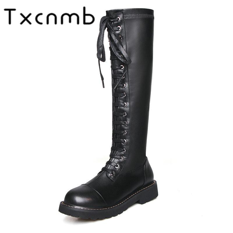 TXCNMB сапоги Женщины колено высокие сапоги из натуральной кожи Осень Зима Теплые квадратные каблуки обувь женщина Качество Повседневная обувь