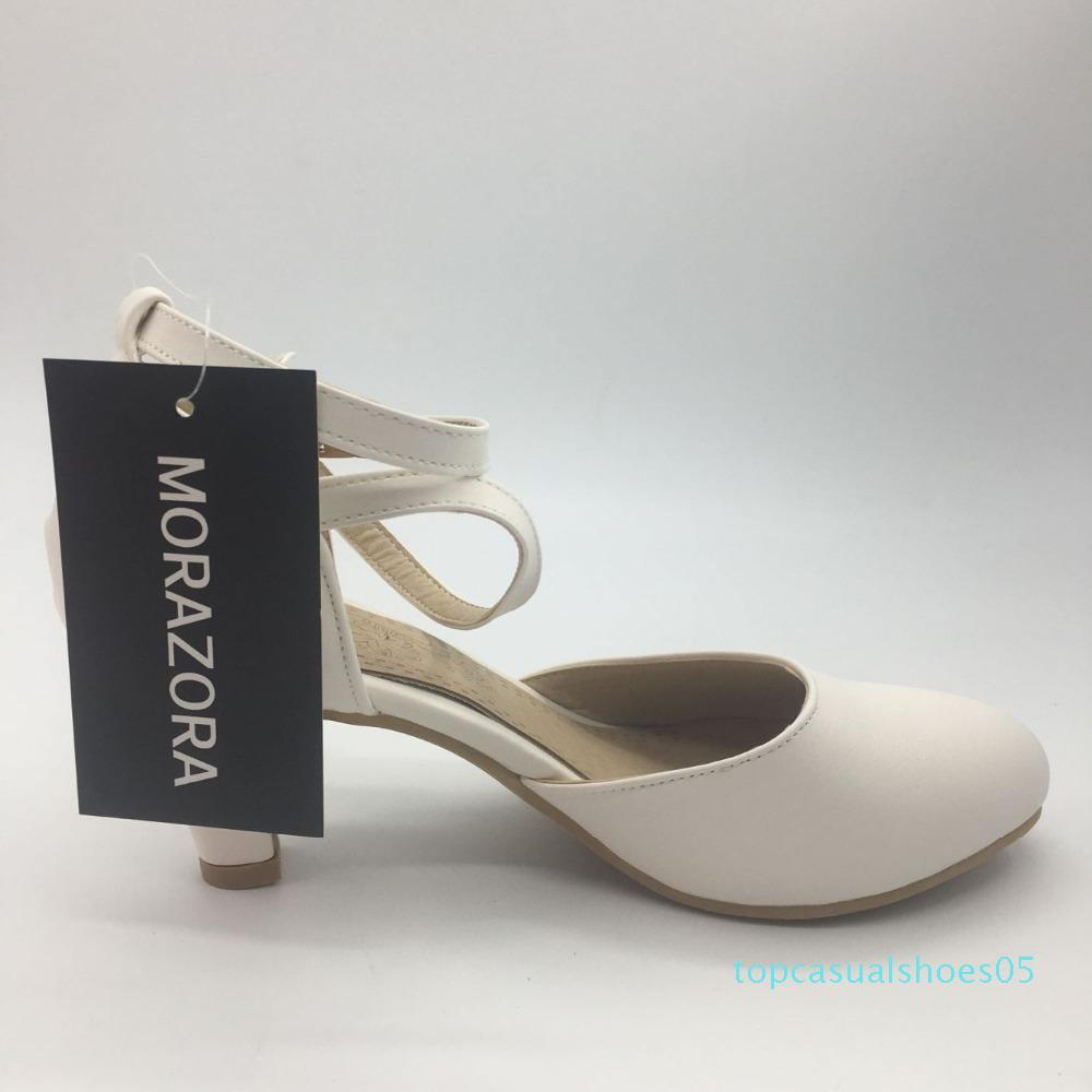 MORAZORA 2020 New chegam sapatos de verão de salto alto fivela rasa casamento sapatos de mulher sandálias tamanho grande elegante 33-43 T05