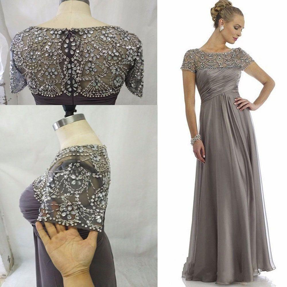 Vestidos largos para la madre de la novia Granos de cristal Cintura alta Vestidos elegantes para madres Vestidos de fiesta hasta el suelo para el vestido de los invitados a la boda