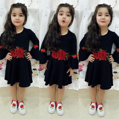 New Style Kid menina Rose Flor vestido Bebés Meninas alargamento manga comprida vestido A linha de vestido plissado Crianças Moda roupas Vestido de Verão