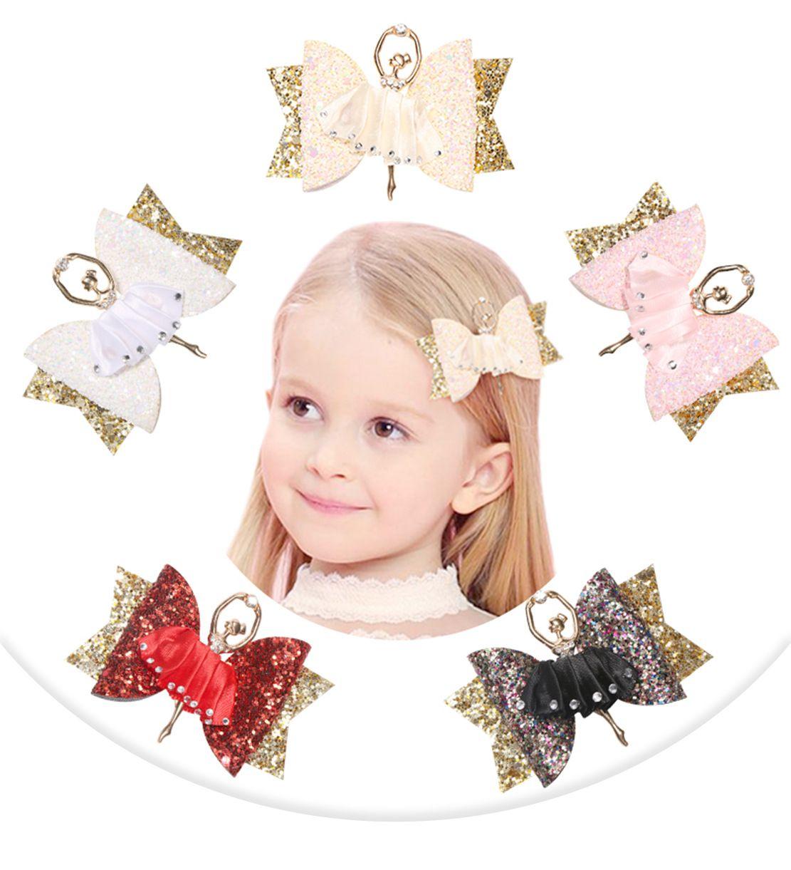 Clips de chica nueva de ballet Accesorios para el cabello para niñas niños de la princesa del brillo arcos del pelo hecho a mano de las horquillas del tocado de los niños linda