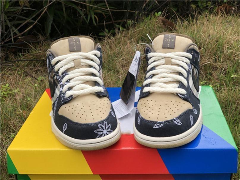 2020 Аутентичные Travis Скоттс х SB Dunk Low парашютом Бежевый баскетбол обувь Мужчины Petra Brown Black CT5053-001 Skate обувь Размер 5-13
