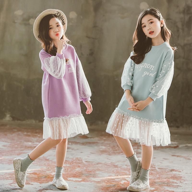 Mädchen langärmlig Baumwollkleid Kinder Punkt-Chiffon- Patchwork-Kleider für Kinder Frühling und Herbst Kleidung Teenager Gerade Art-Kleid