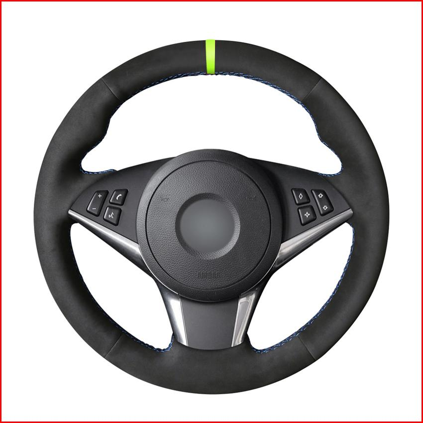 Steering fai da te nero dell'automobile della pelle scamosciata Wheel Cover per BMW E60 530d 545i 550i E61 Touring 2005-2009 / E63 E64 630i 650i 645Ci 2004-2009