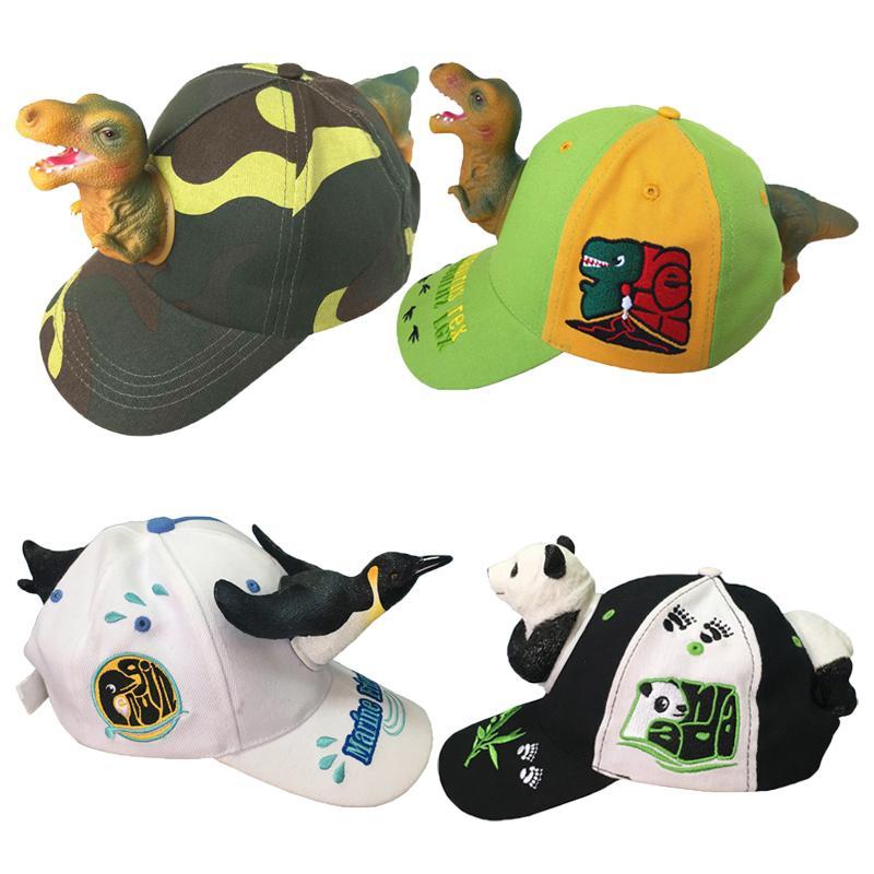 Dinosaurio 3D niños del sombrero del bebé del sombrero Tiranosaurio accesorios de fotografía panda animal Bird Fish Cap Niños historieta del casquillo de las muchachas
