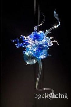 100% Soplado Azul Lámparas Murano lámpara de cristal de Murano alumbramientos Pequeño barato Arte de vidrio colgando flor LED azul de la lámpara Diseñado
