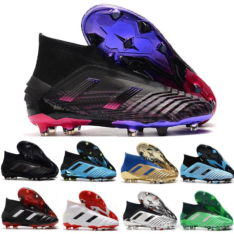 New Classics Predator Mania Tamanho 19+ 19,1 FG Black White laceless 19 + x Deslizamento-On High Ankle Men chuteiras Chuteiras Futebol Botas barato 39-45