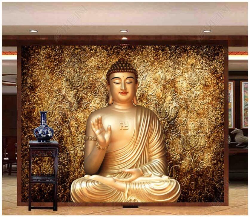 WDBH 3D papel de parede foto feita sob encomenda foto shakyamuni corpo dourado buddhism fundo sala de estar casa decoração 3d parede papel de parede para paredes 3 d