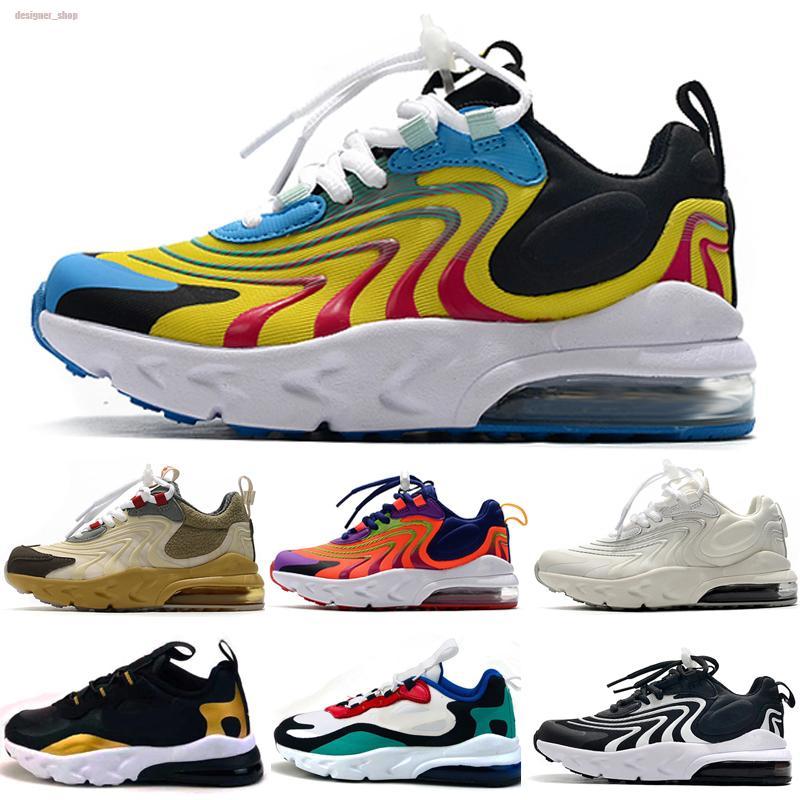 Nike Air Max 270 React 2020 React 2 Bauhaus II Shoes TD crianças das meninas do menino Running Shoes Black White Hiper violeta brilhante da criança Children Sneakers Tamanho 28-35