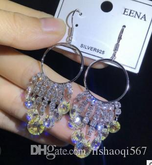 Asil düşük fiyat yüksek kalite toptan 2 adet / grup renkli elmas kristal püsküller 925 gümüş bayan küpe 38rre