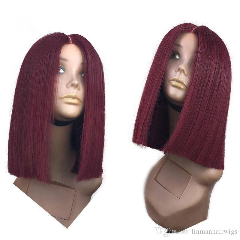 Burgundy Lace Front Wig With Baby Hair Straight 130% 150% Density Brazilian Remy Full Lace Human Hair Wig