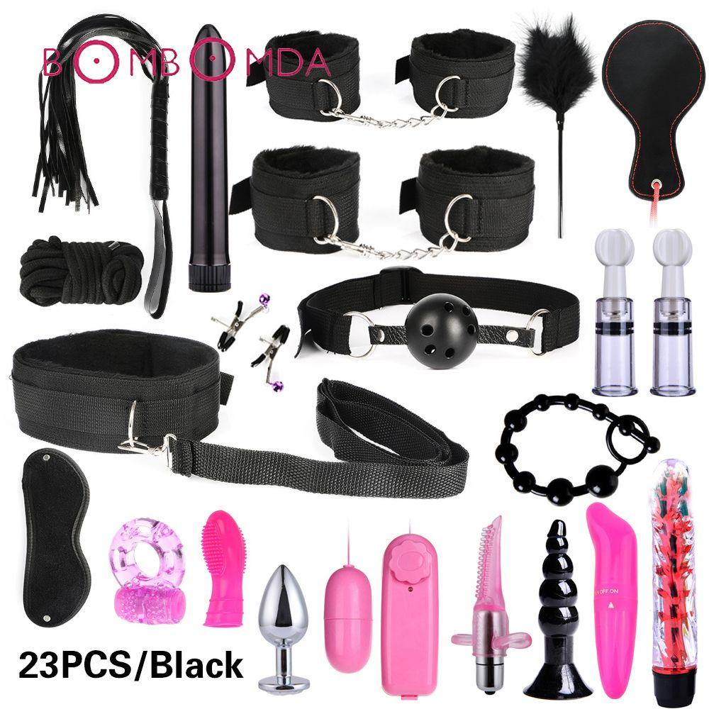 Sex Shop Vibrator For Women Clitoris Stimulate BDSM Bondage Set Sex Toy For Couples Anal Dildo Plug Penis Vibrating Ring For Men MX191228