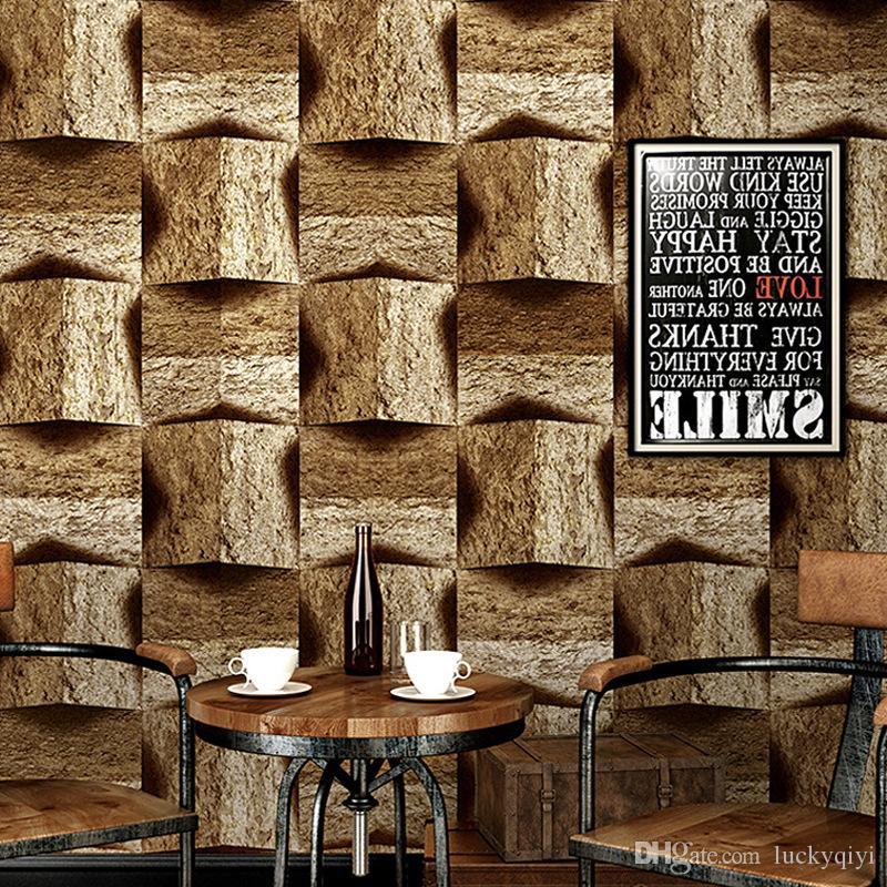 3D mermer taş desen pvc duvar kağıdı eski nostaljik antik kişilik çubuğu endüstriyel rüzgar tv arka plan ev duvar rulo kağıdı