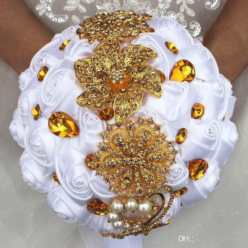 Gold Rhinestones Ivory Pink Red Satin Wedding Bridal Bouquets Free Shipping Artificial Flowers Hand Bouquet 2019 Wedding Decorations
