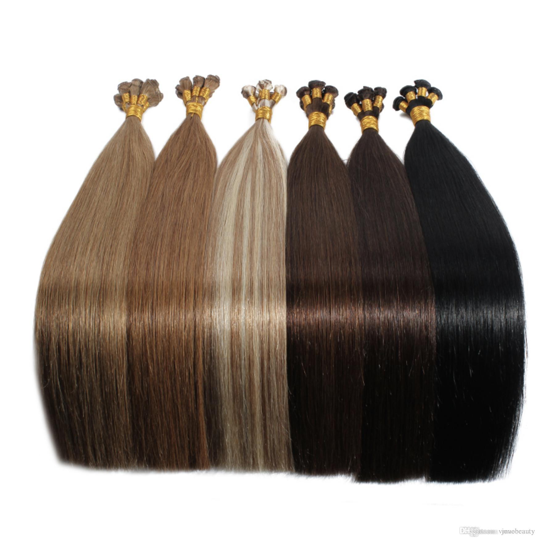 VMAE Full Cuticle single donor European Burgundy Blonde brown double drawn 100g Russian Remy Virgin Hand Tied Weft Human Hair Extension