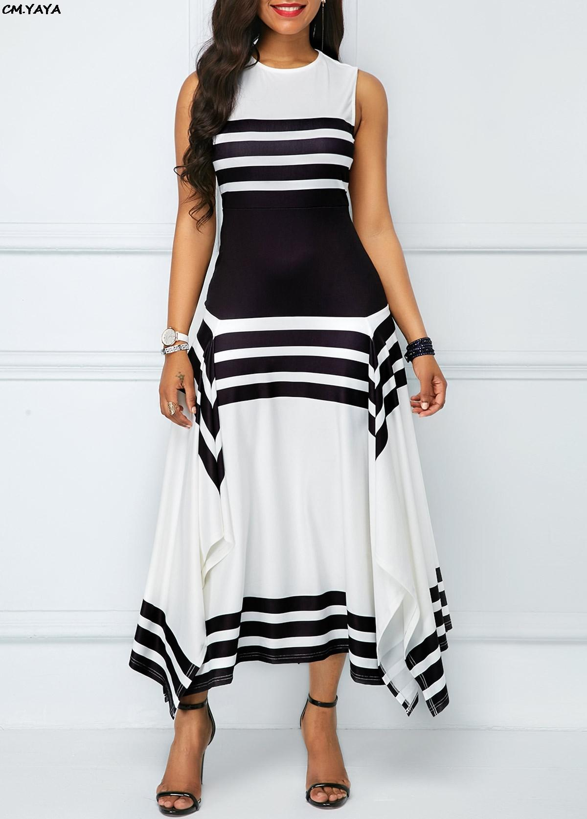 Nuove donne manica meno o-collo nero strisce bianche orlo irregolare a-line lungo maxi vestito moda casual abiti 2 colori GLA6077