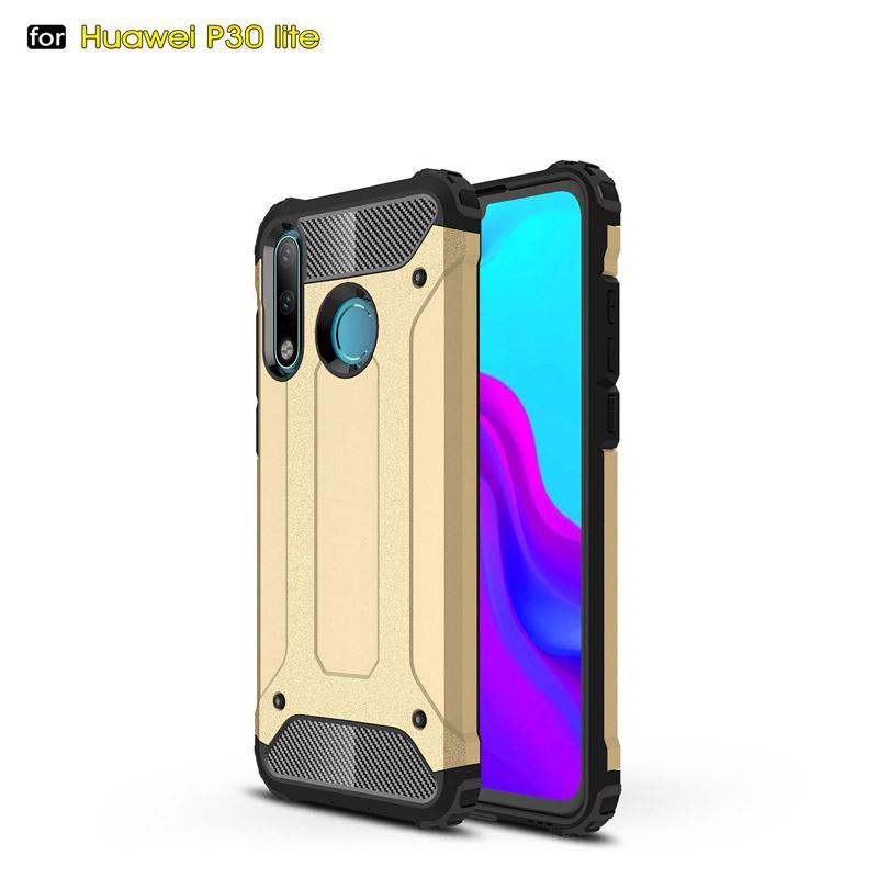 Ударопрочный Анти Царапины Броня Корпус телефона для Huawei P30 Lite Роскошный мягкий силиконовый PC Hard Cover Shell бампер