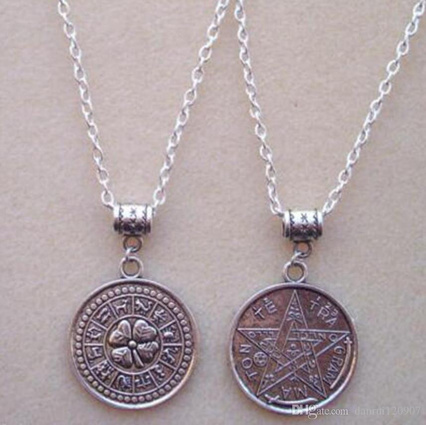 Reversable Tetragrammaton Pentagram Zodiac Necklace-Charm Pendant Jewelry Vintage Silver Statement Sweater Chain Necklace For Women Gift- 52