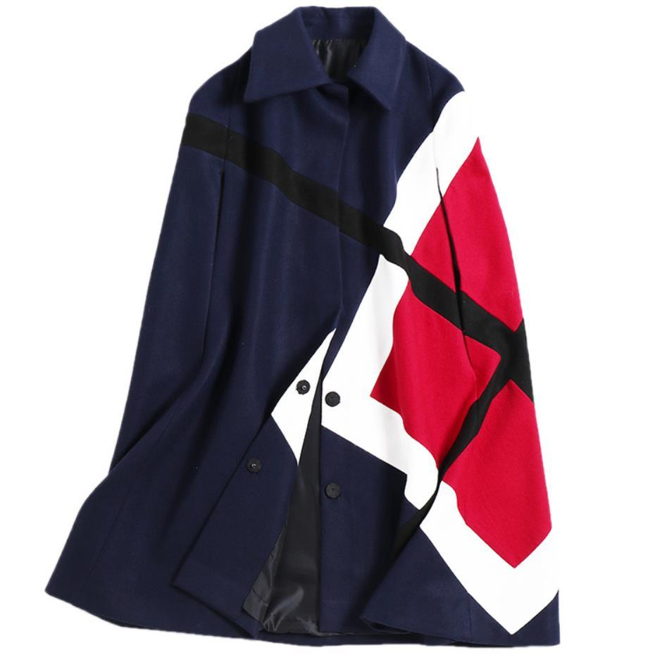 PLUS SIZE 3XL!2019 Autumn Winter Women Cloak Poncho Wool Long Sleeve Coat Casual Patchwork Batwing Sleeve Tweed Cape