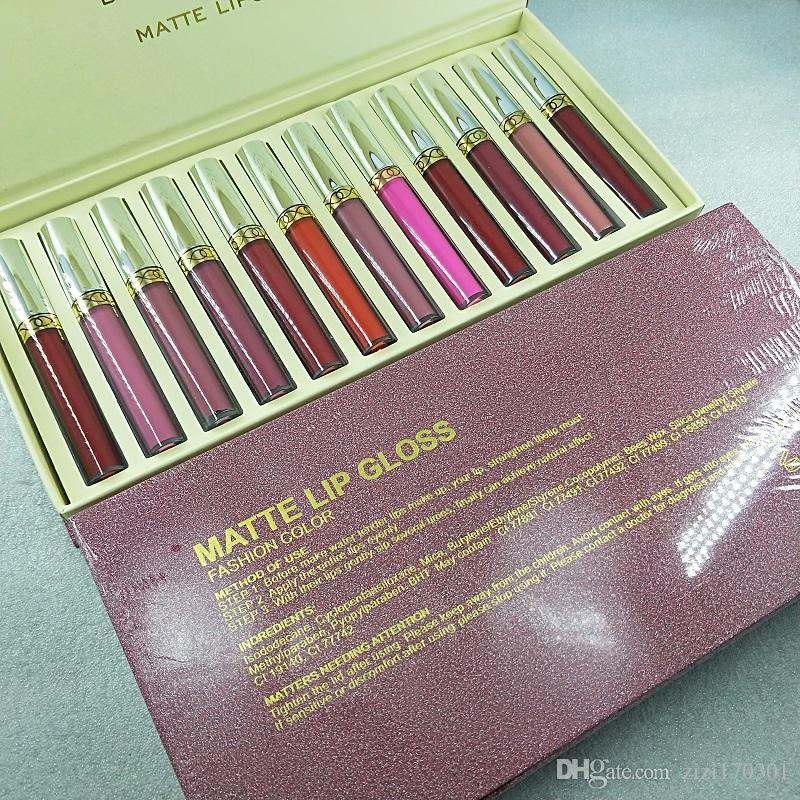 maquillage Brand makeup new 12pcs/set LIQUID LIPSTICK 12 PIECE COLLECTION long lasting lipstick makeup lip gloss sets