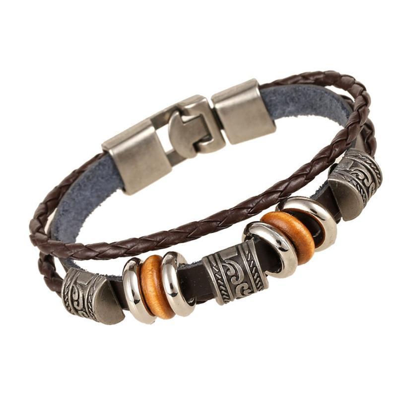 Hommes Bracelet Tressé Vintage PU cuir tissé à la main Bangles Bijoux Bracelets cadeau NYZ Boutique