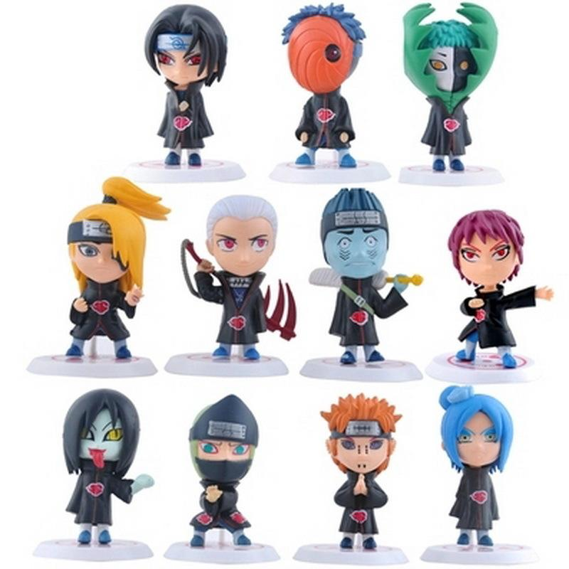 2018 New Hot 11pcs/set Children Dolls Japanese Anime Naruto Akatsuki 2.6'' Figure Toys Model Action Figure Birthday Gifts MX200319