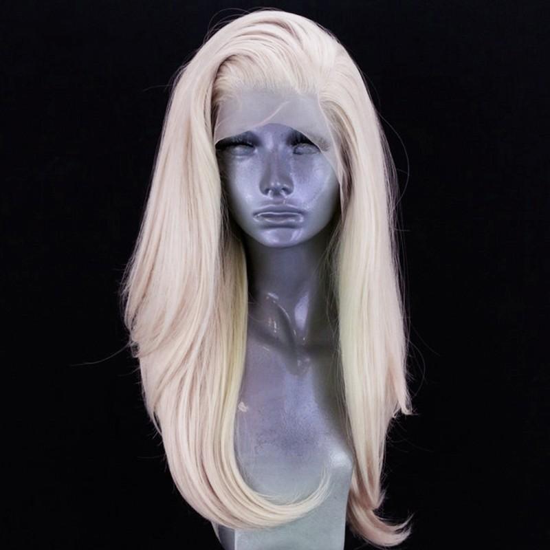 Seitenteil Natürliche lange Platin Blonde Perücke Hochtemperaturfaser 360 Spitze Synthetische Spitze Front Perücke für weiße Frauen
