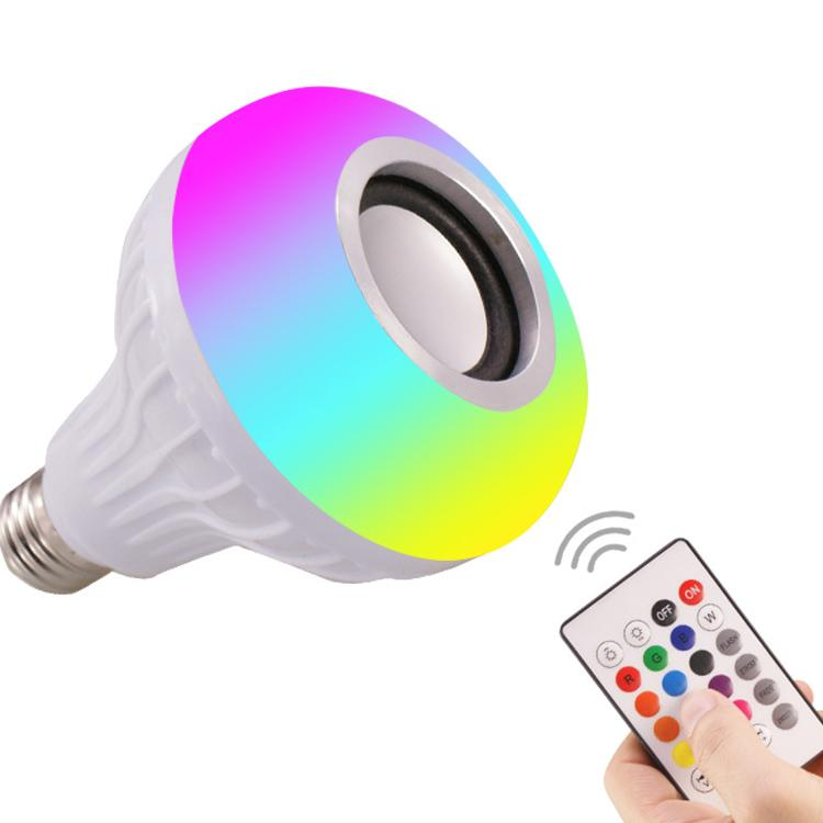 المصباح الكهربائي LED مع مكبر صوت Bluetooth، E27 RGB تغيير لون المصباح LED للموسيقى، متعدد الالتزامات والتحكم بشكل متزامن