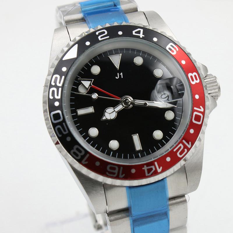 럭셔리 TOP 품질 GMT 블랙 레드 베젤 남성 기계 스테인레스 스틸 오토매틱 무브먼트 시계 스포츠 남성 시계 손목 시계를 셀프 와인딩