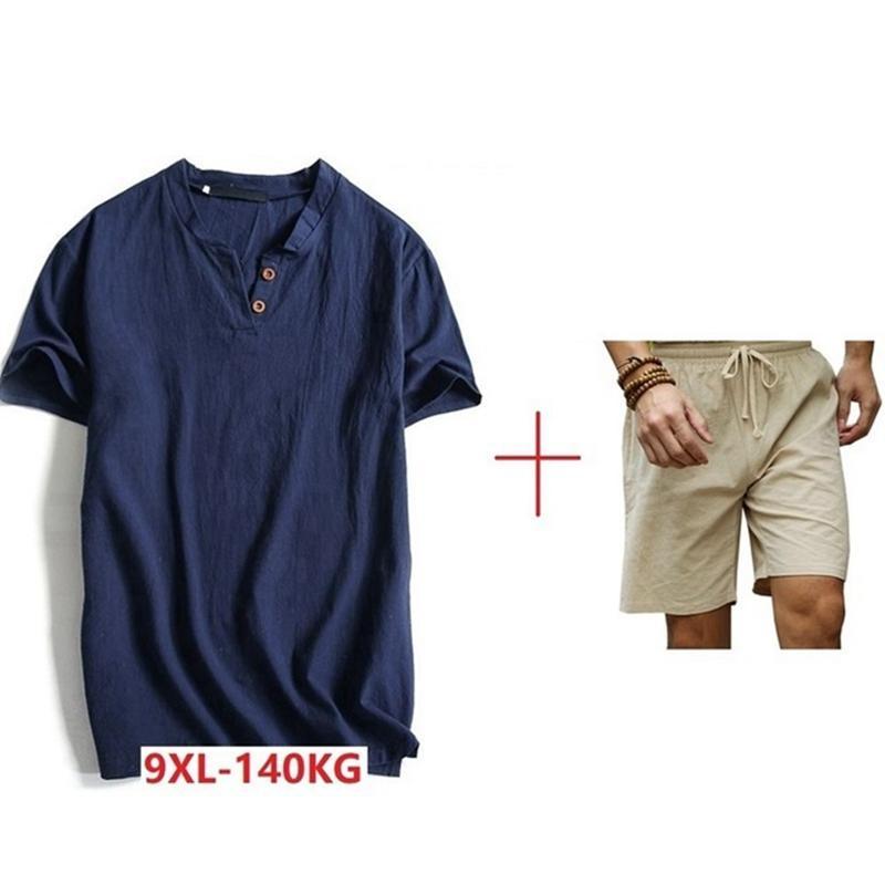 большого размера 7XL 8XL 9XL мужчины Китайского стиля футболка и шорты старинной тенниска короткого рукав мужчина лето хлопок V-образный вырез тройники кнопки Вершин
