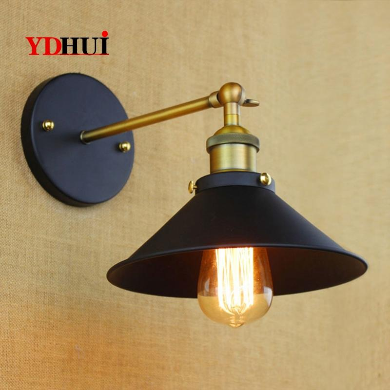 mini small wall lamps Vintage black rustic wall sconce lights Retro Loft Industrial Lamp lamparas Arandela De Pared
