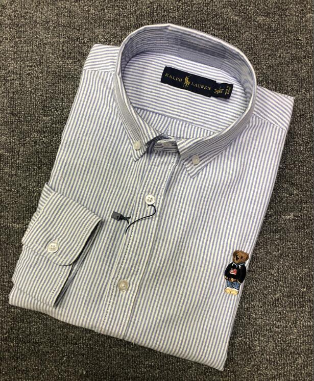 Designer POLO Petit ours Oxford CHEMISE Chemise Affaires Décontractée Hommes Chemises manches longues Homme Bureau Slim Fit formelle Camisa Mode