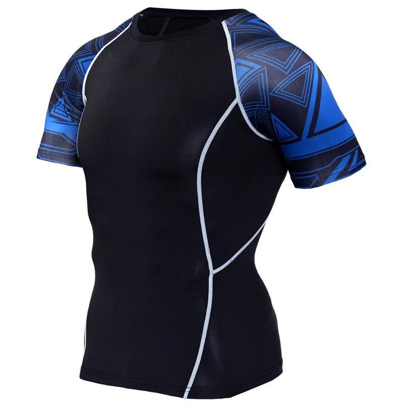 Quick Dry 3D Gedruckte T-Shirts Herren Fitness Bekleidung Compression Herren Tops Kurzarm Fitness Bekleidung Sportswear T-Shirts