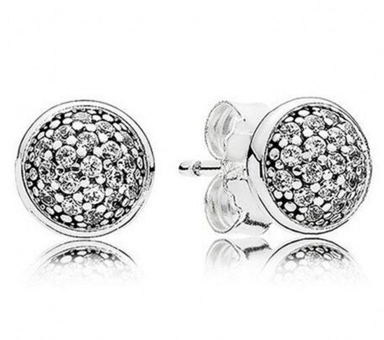 Nova 100% Authentic 925 Sterling Silver Pan Brinco Brincos Com Cristal Studs Brinco Para As Mulheres Presente da Festa de Casamento Jóias Finas