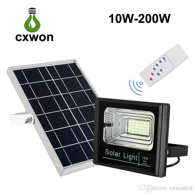Outdoor Solar LED Flood Light Waterproof IP65 Wall light with Smart Remote Solar Power Spotlight for Home Garden Yard Lawn Pool Light