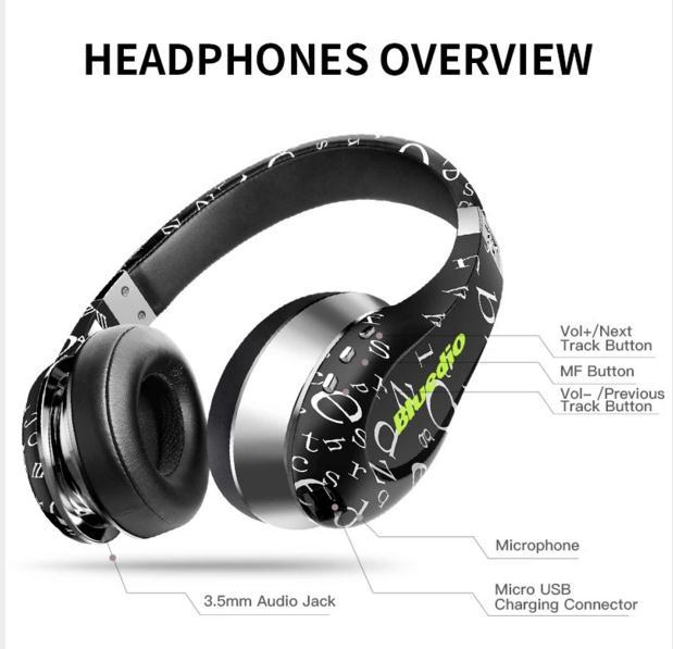 New arrival Bluedio A(Air) Bluetooth Headphones/Wireless Headset Fashionable Printed Wireless Headphone For android Phone car